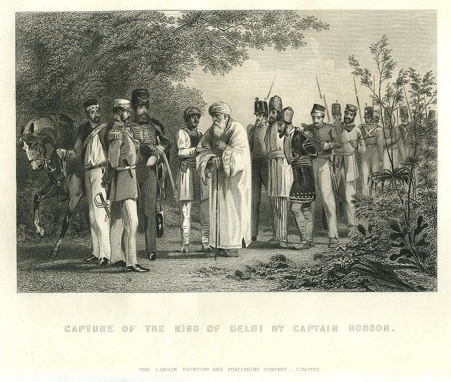 """Capture of the King of Delhi by Captain Hodson"", steel engraving. Captain William Hodson captured Bahadur Shah II on 20 September 1857 during the Sepoy Mutiny. Credit: Wikimedia"