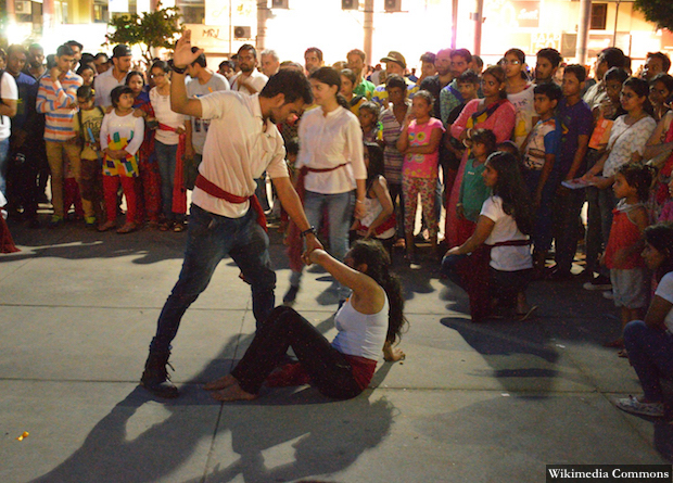 A street theatre performance on domestic violence at the Bridge Market plaza in Chandigarh. Credit: Wikimedia