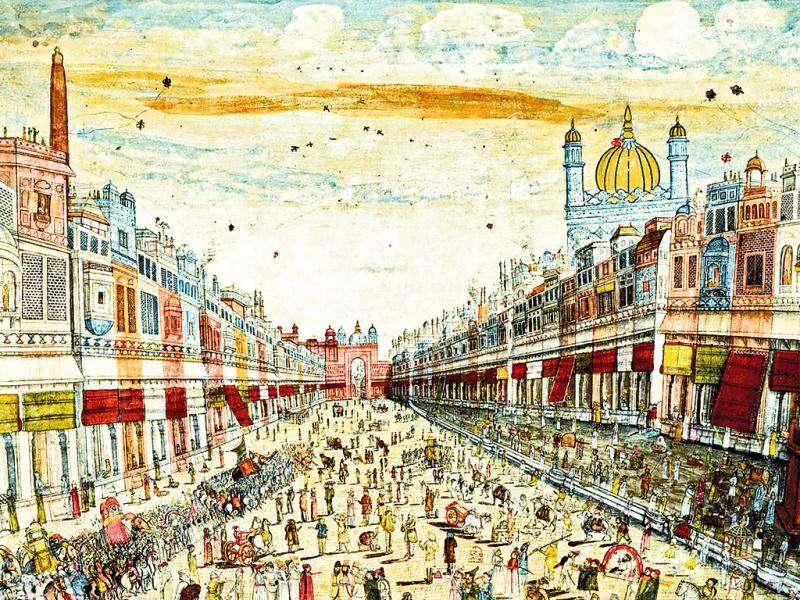 A painting of Faiz Bazaar in Delhi made by a Rajasthani artist, circa 1840. Courtesy: Private collection of Francesca Galloway, London