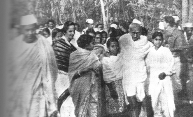 Mahatma Gandhi during a morning walk in Guwahati in 1946. Courtesy: Nirode Barooah's book on Gopinath Bardoloi