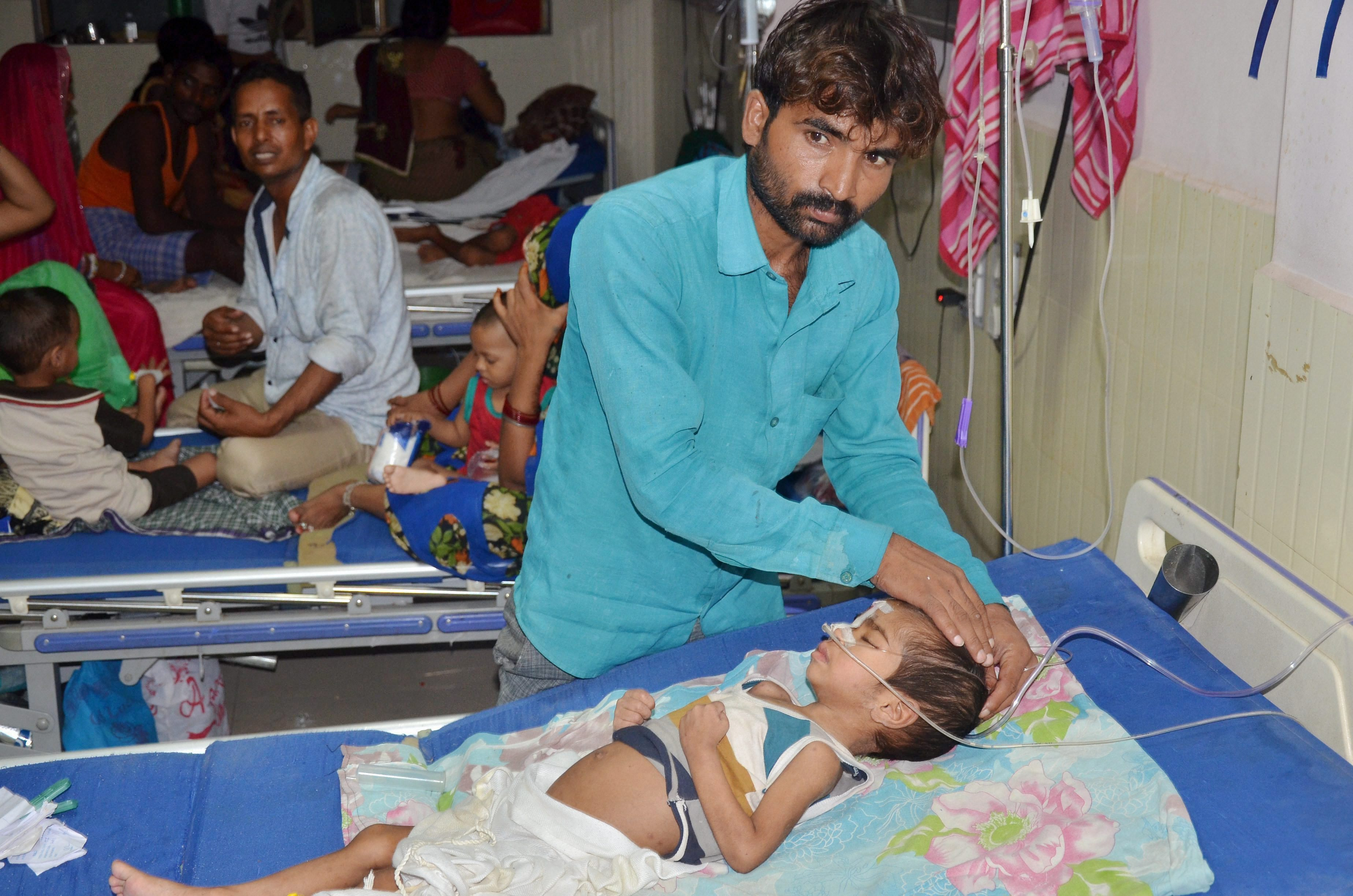 An inside view of a ward of BRD Hospital in Gorakhpur on Friday where at least 30 children died in the past two days, allegedly due to an oxygen supply cut on Friday. Credit: PTI