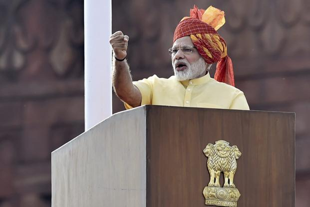 Prime Minister Narendra Modi addresses the nation during the Independence Day function at the Red Fort in New Delhi on Tuesday. Photo: PTI
