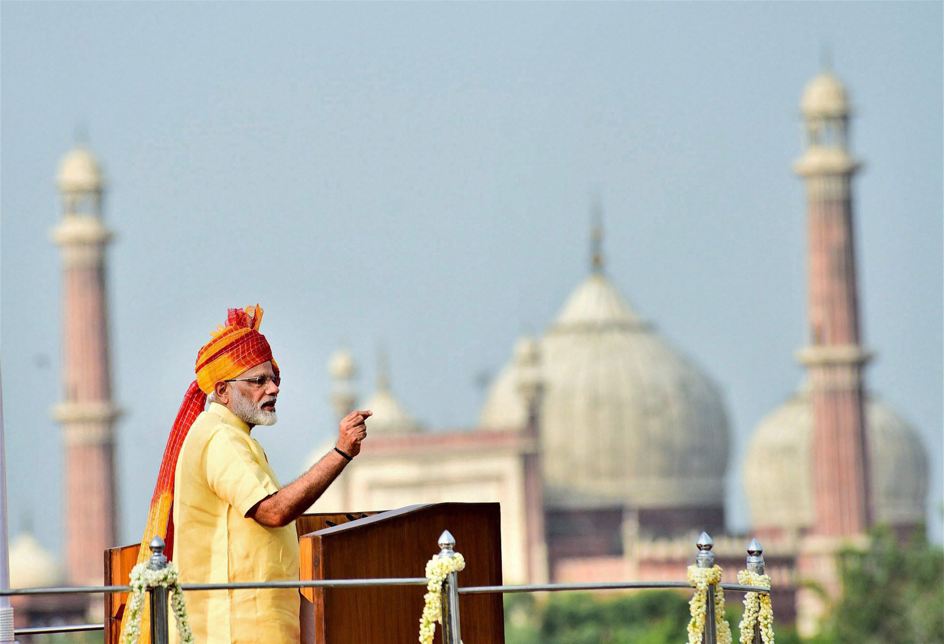 Prime Minister Narendra Modi addressing the nation from the ramparts of the historic Red Fort on the occasion of Independence Day in New Delhi on Tuesday. Credit: PTI/PIB