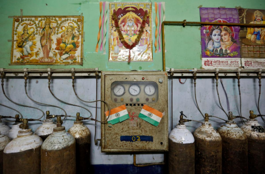 A room containing oxygen tanks in the Baba Raghav Das hospital in Gorakhpur. Credit: Reuters/Cathal McNaughton