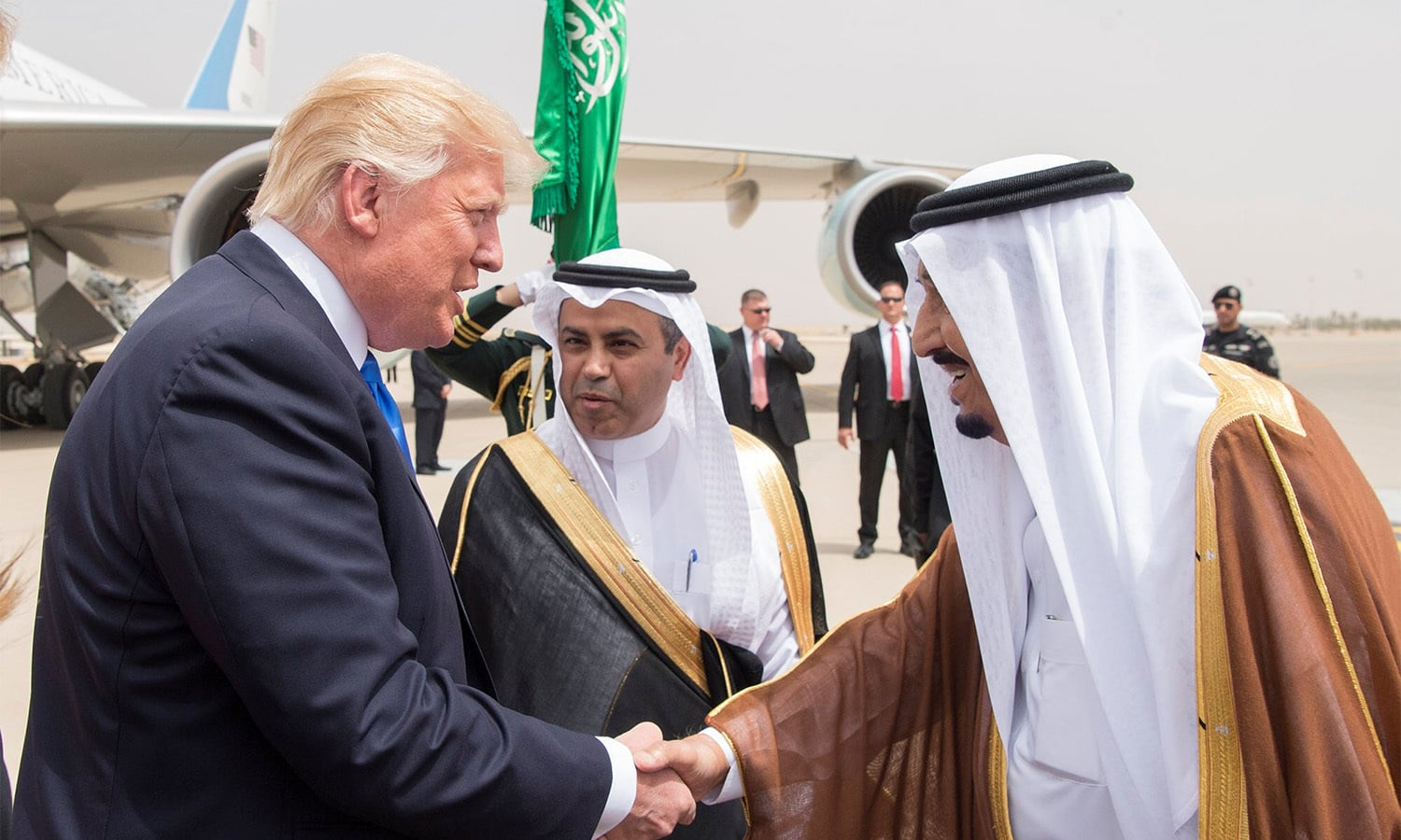 "Saudi Arabia's King Salman bin Abdulaziz Al Saud shakes hands with US President Donald Trump during a reception ceremony in Riyadh, Saudi Arabia, May 20, 2017. Credit"" Bandar Algaloud/Courtesy of Saudi Royal Court/Handout via Reuters"