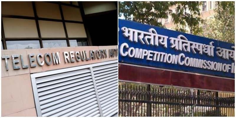 Left: Telecom Regulatory Authority of India building. Right: Competition Commission of India. Credit: PTI