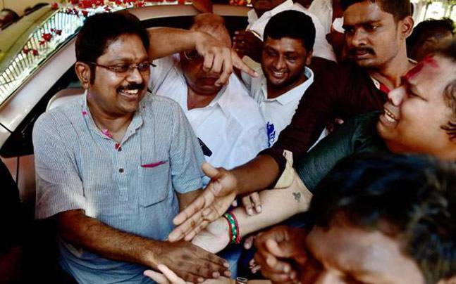 T.T.V. Dhinakaran being greeted by supporters. Credit: PTI/Files