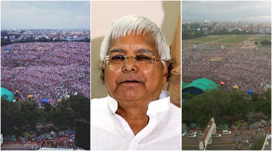 BJP Bhagao, #DeshBachao: Lalu Prasad Yadav Tweets Morphed Image of Rally, Gets Called out on Twitter