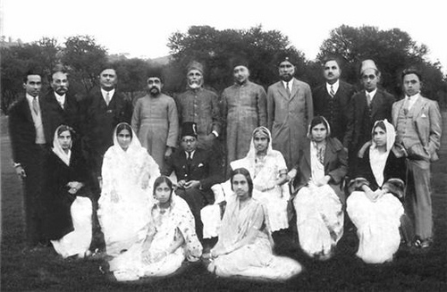 Saadulla, 6th from left (standing) and his daughter Betty (extreme left, sitting) attending a wedding at Shillong in the 1930s. Credit: www.motijanhazarikarahman