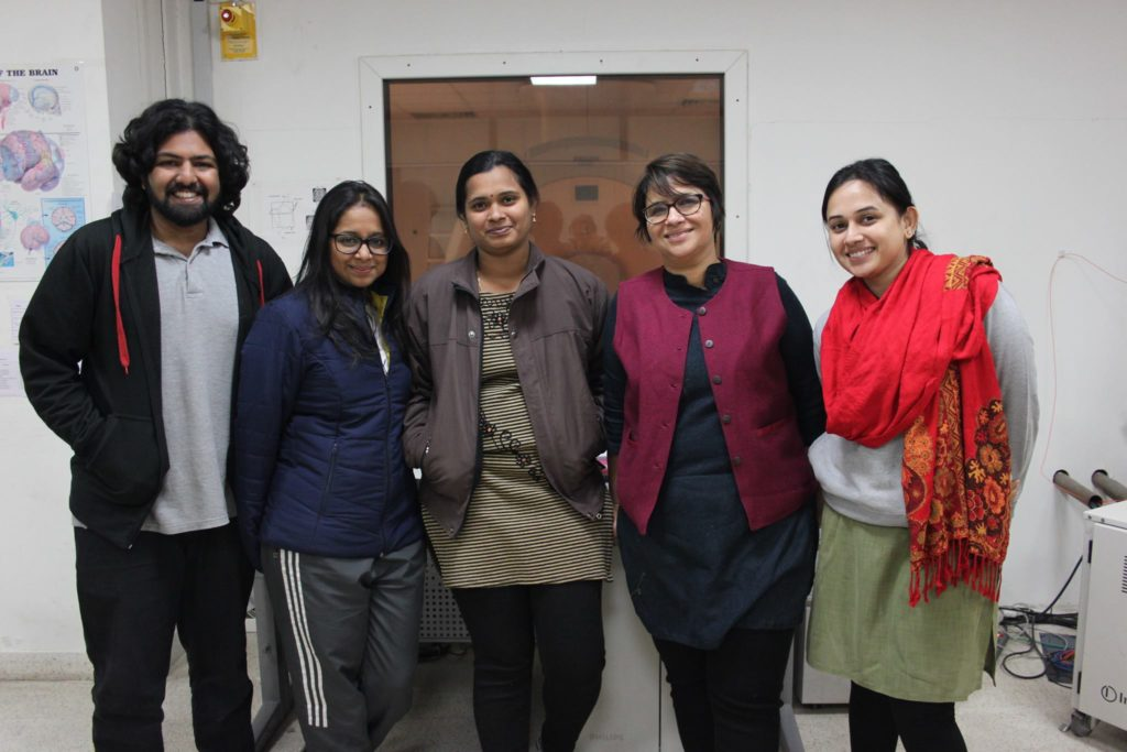 Chatterjee with her students and their fMRI scanner at NBRC. Credit: The Life of Science