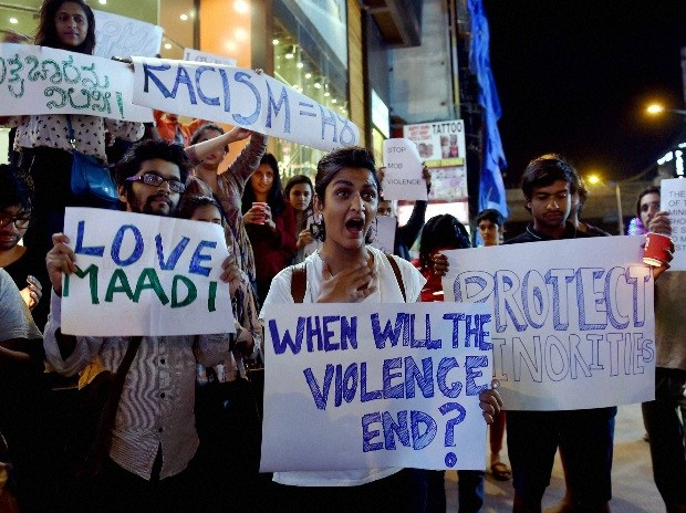 File photo of a protest in Bengaluru after a Tanzanian woman was attacked. Credit: PTI