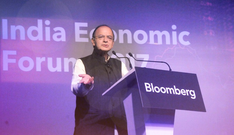 Union Minister for Finance and Corporate Affairs Arun Jaitley delivering the keynote address, at the India Economic forum, organised by the Bloomberg, in Mumbai on September 22, 2017. Credit: PIB