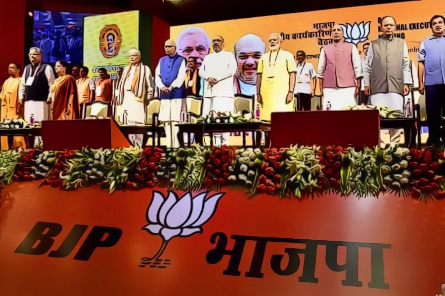 Prime Minister Narendra Modi, BJP president Amit Shah and other senior leaders at the party's national executive meeting in New Delhi on Monday. Credit: PTI