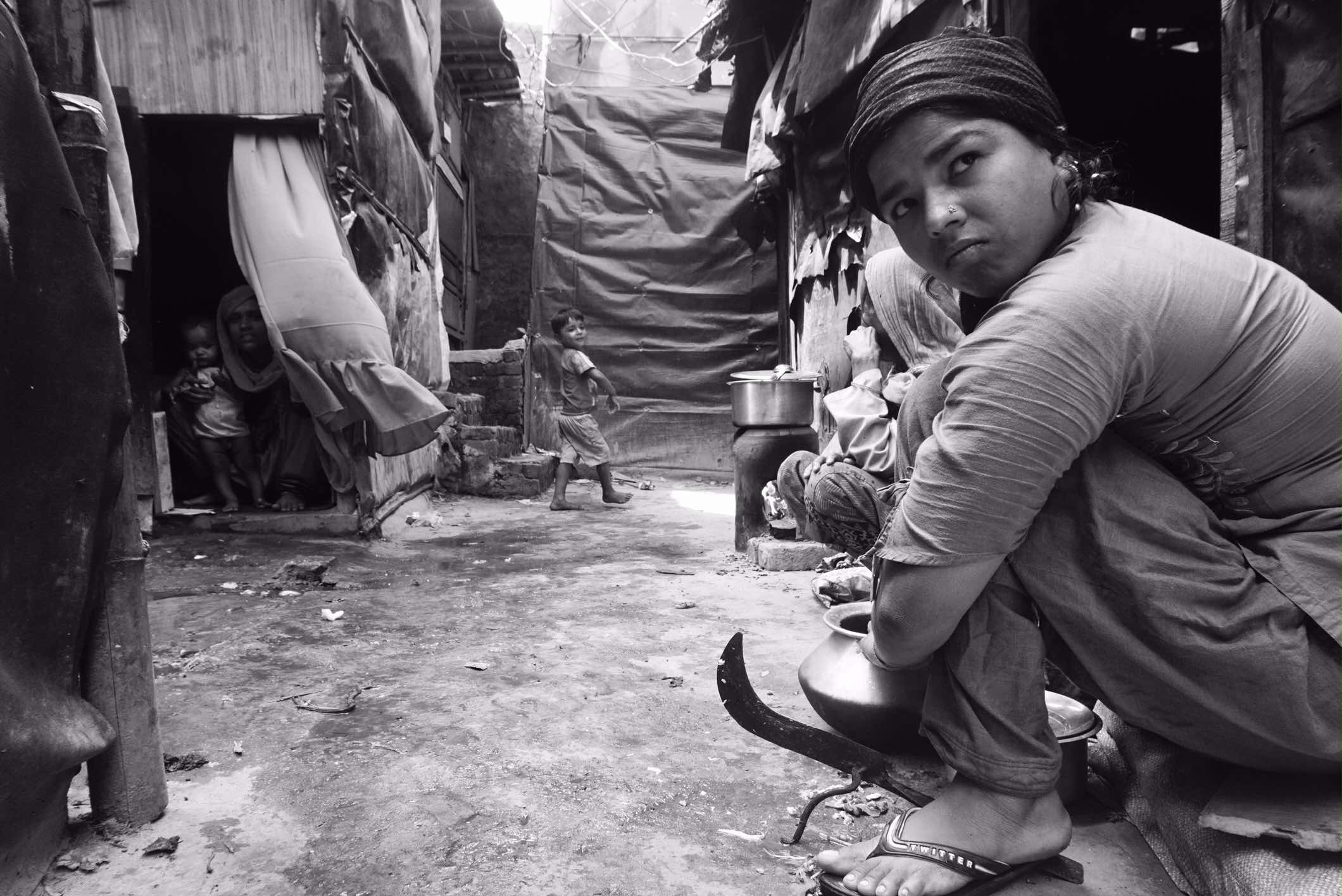 In the Rohingya camp at Madanpur Khader, Delhi.