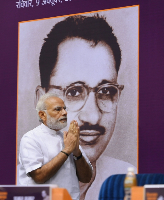 Prime Minister Narendra Modi at the release of the full volume of works of Deendayal Upadhyaya, in New Delhi on October 9. Credit: PTI