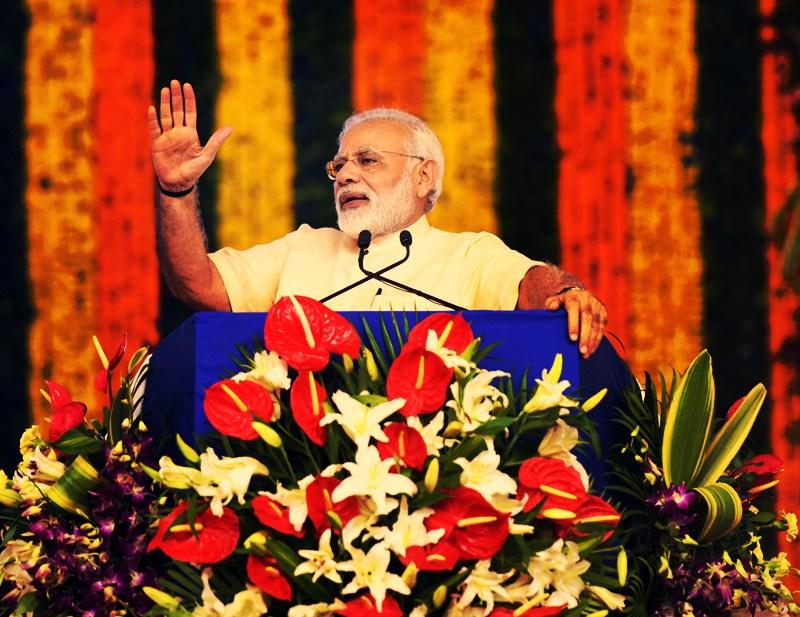 Prime Minister Narendra Modi addressing the Sahakar Sammelan, in Amreli, Gujarat on September 17, 2017. Credit: PIB