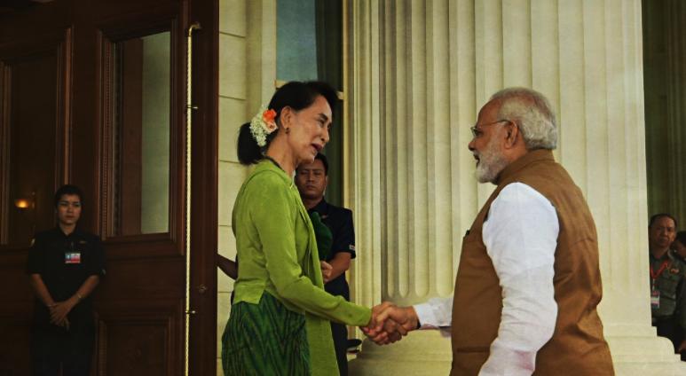 Narendra Modi and Aung San Suu Kyi on Modi's recent trip to Myanmar. Credit: Twitter/Narendra Modi