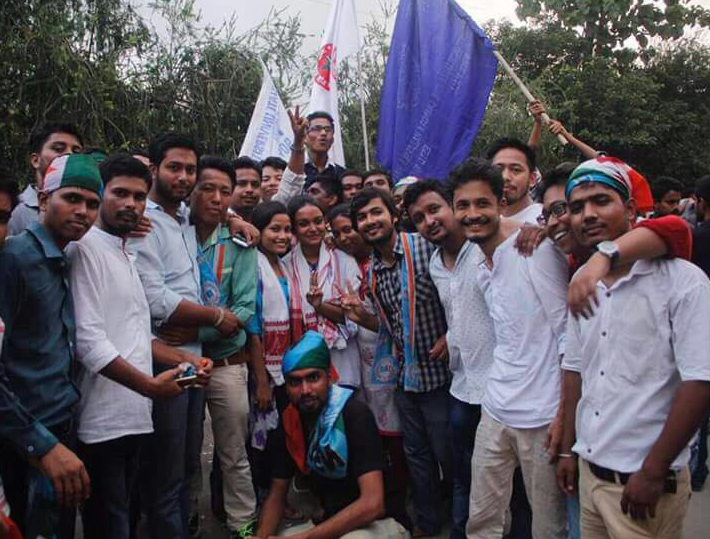 NSUI members celebrating after students' union election results were announced in Gauhati university. Credit: NSUI/Twitter