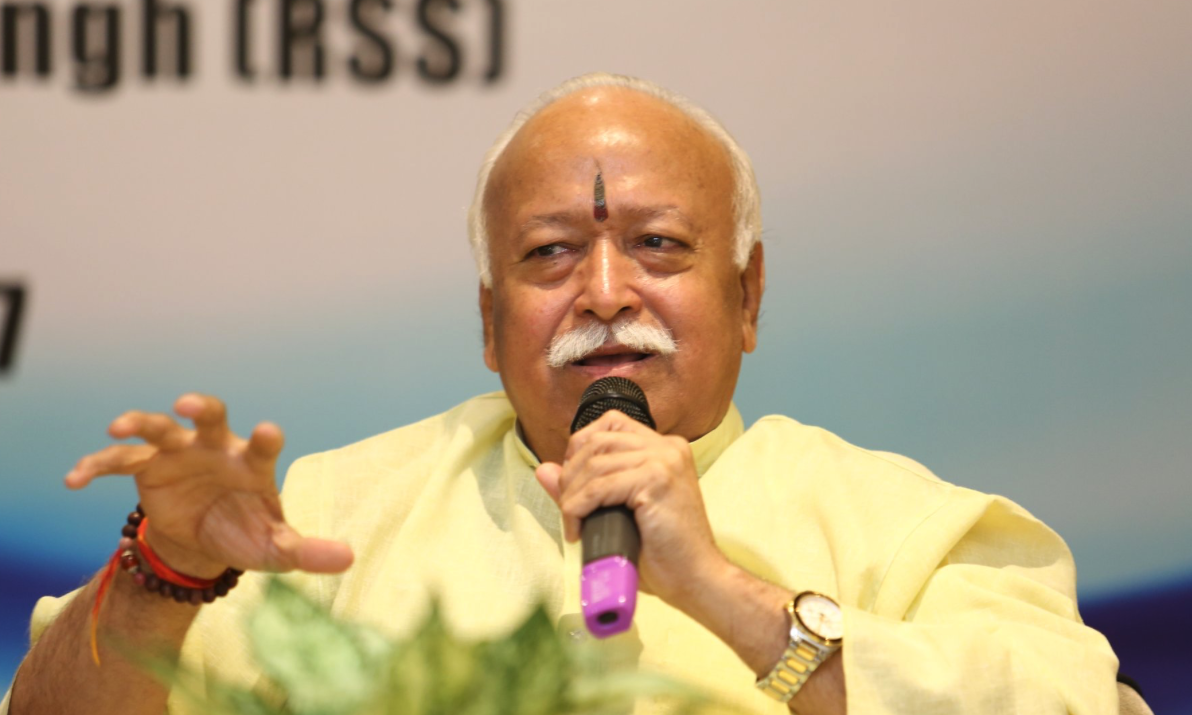 "RSS chief Mohan Bhagwat, speaking to a group of diplomats, said that he had ""good contact"" with Prime Minister Narendra Modi and had ""independent discussions"" on a range of issues. Credit: Twitter/India Foundation"