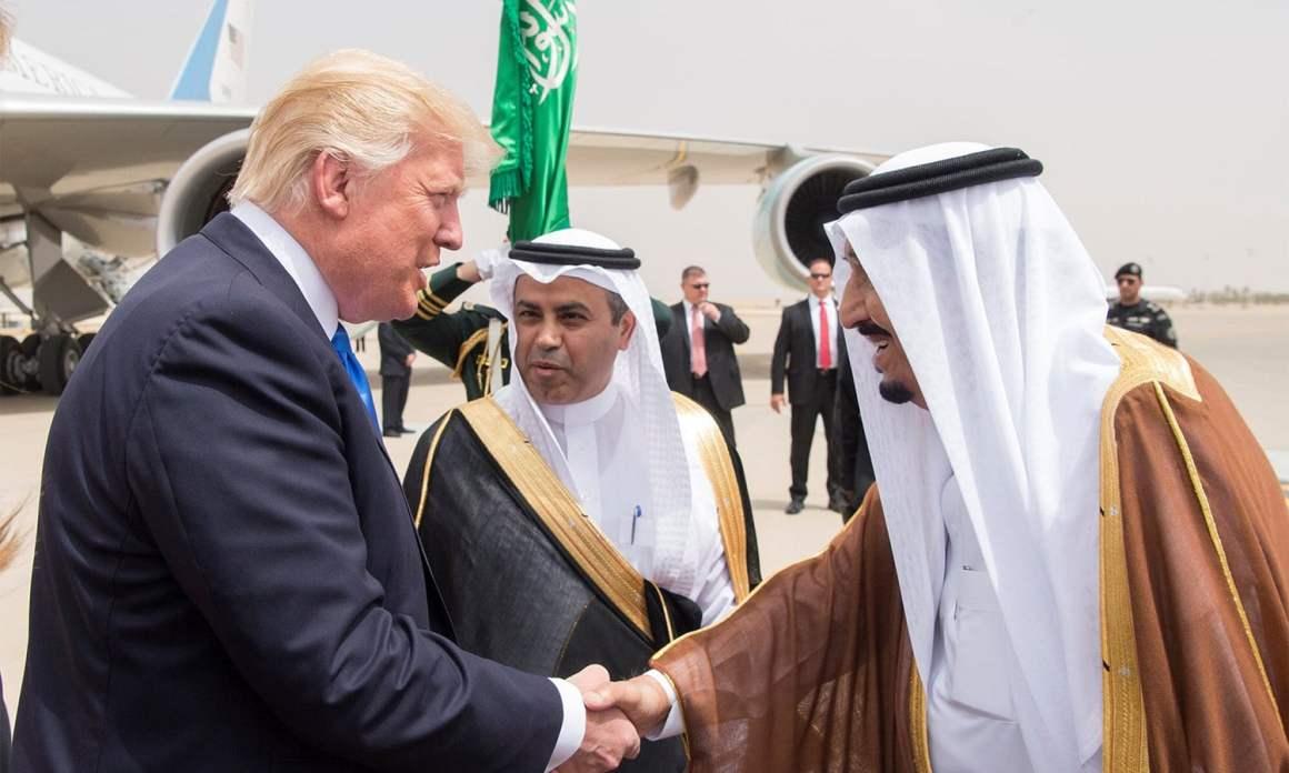 Saudi Arabia's King Salman bin Abdulaziz Al Saud shakes hands with US President Donald Trump. Credit: Reuters