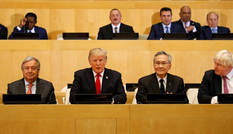 US President Donald Trump participates in a session on reforming the United Nations at UN Headquarters in New York, US, September 18, 2017. Credit: Reuters/Kevin Lamarque