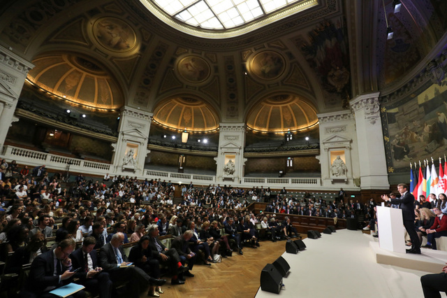 General view of the amphitheatre at the Sorbonne as French President Emmanuel Macron delivers a speech to set out plans for reforming the European Union in Paris, France, September 26, 2017. Credit: Reuters