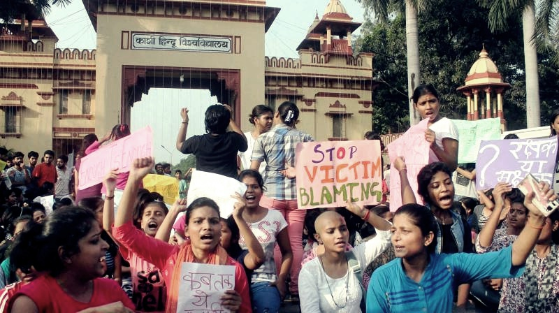 The Banaras Hindu University students protest near the university's main gate. Credit: PTI