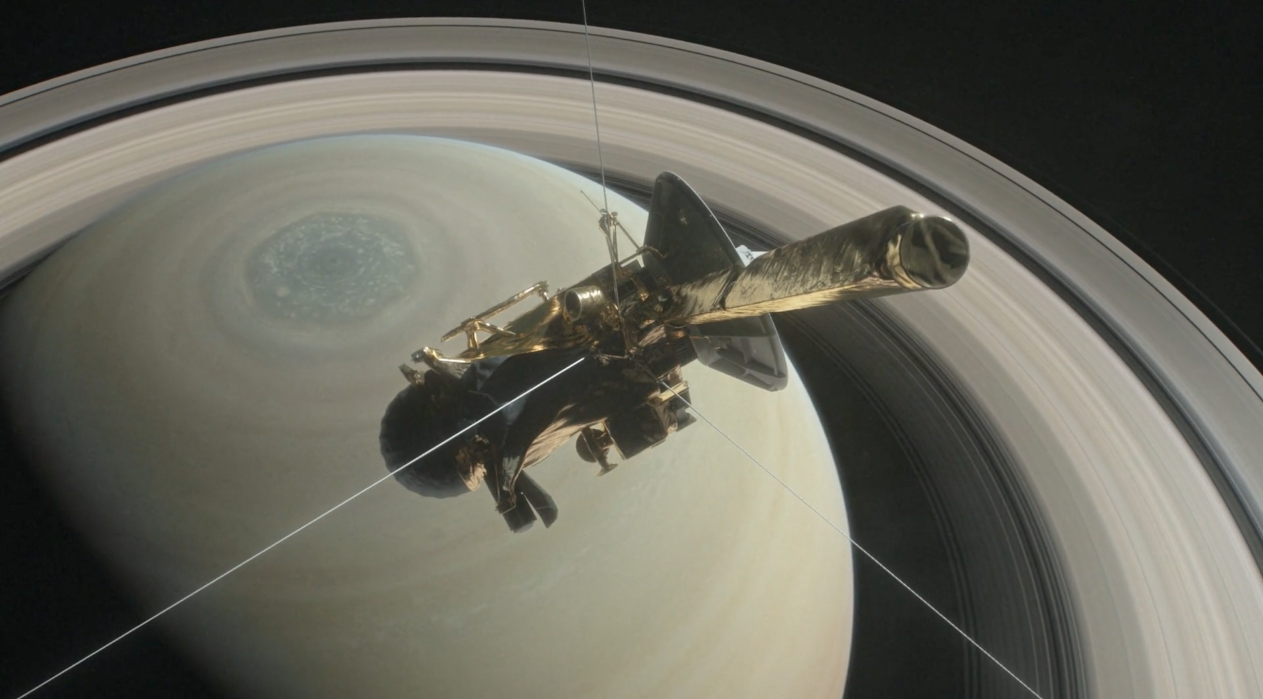 An artist's illustration of Cassini zooming in towards Saturn. Credit: NASA/JPL-Caltech