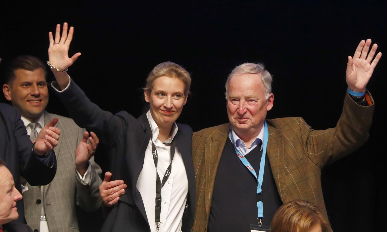 Top candidates for the German elections Alice Weidel and Alexander Gauland of Germany's anti-immigration party Alternative for Germany (AFD) during an AFD party congress in Cologne Germany, April 23, 2017. Credit: Reuters/Wolfgang Rattay