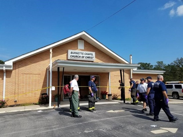 The scene where people were injured when gunfire erupted at the Burnette Chapel Church of Christ, in Nashville, Tennessee, U.S., September 24, 2017. Credit: Reuters