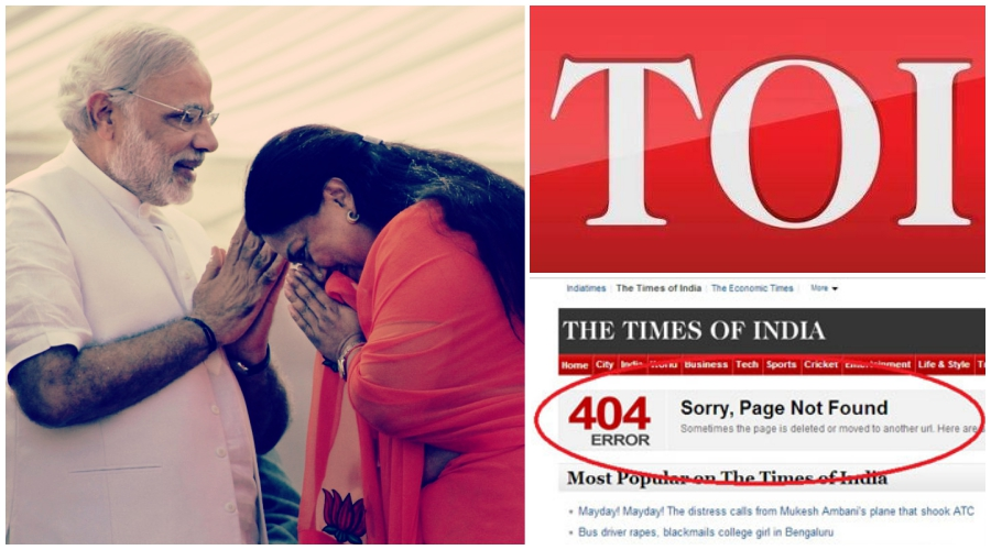 Times of India Takes Down a Story the BJP Finds Embarrassing, Again