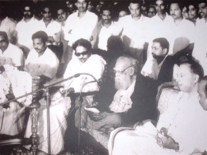 M. Karunanidhi (front row, third from left) and Periyar (fourth). Source: YouTube