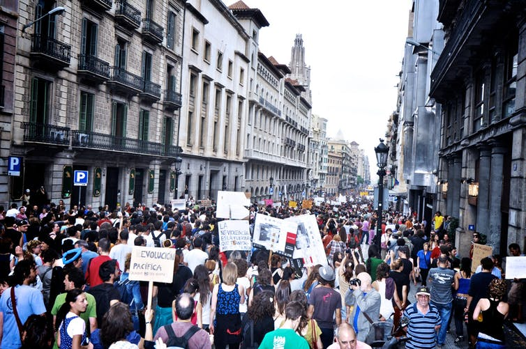 Though Podemos's populist message resonated with many on the streets, it has led the party into trouble. Credit: Flickr