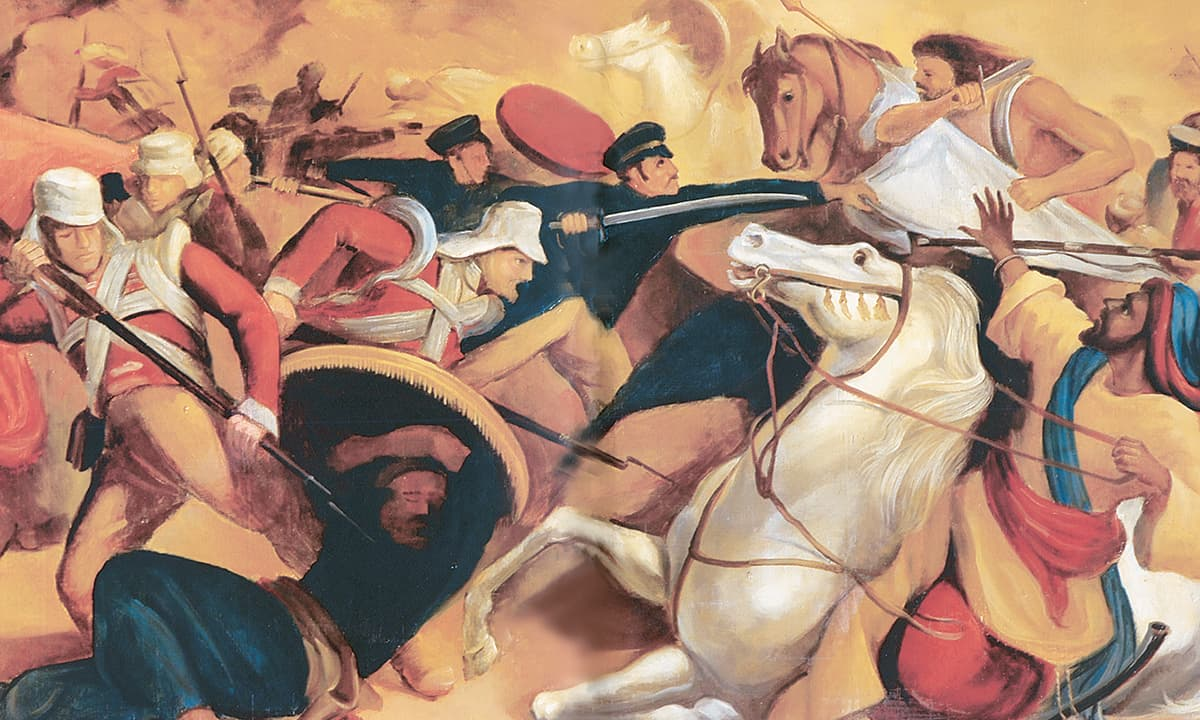 Battle of Miani, oil on wood. Credit: Dry leaves from young Egypt, Volume I