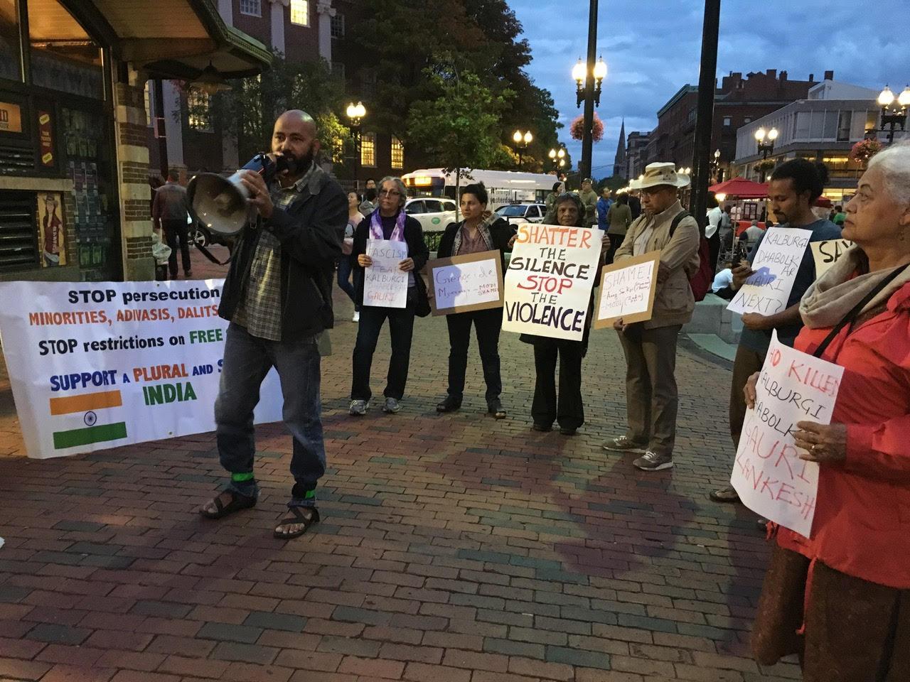 Vigil in protest at Gauri Lankesh murder and Rohingya massacre at Harvard Square. Credit: Beena Sarwar