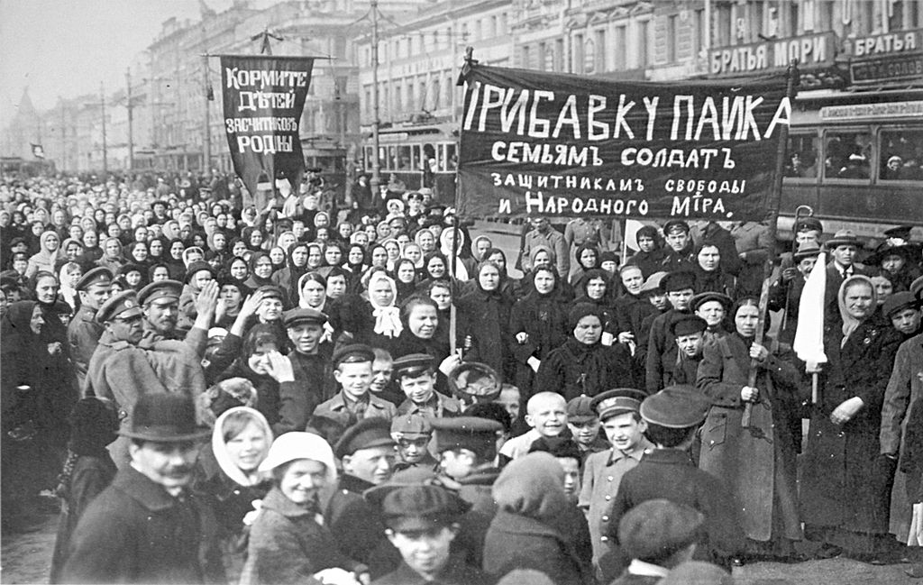 A demonstration of workers from the Putilov plant in Petrograd (modern day St. Peterburg), Russia, during the February Revolution. Credit: Wikimedia Commons
