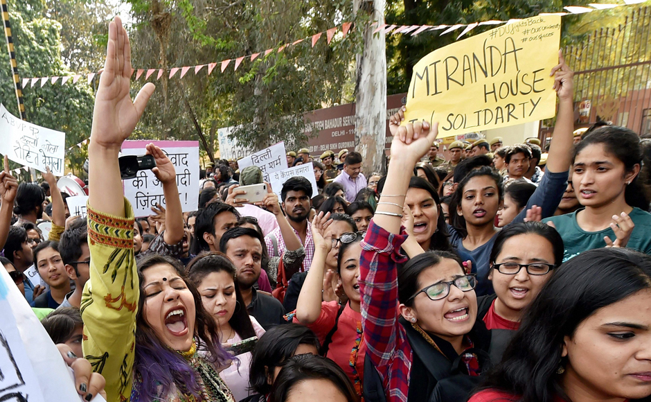 Students of Delhi University, JNU and Jamia during their protest march against ABVP at Delhi University. Credit: PTI
