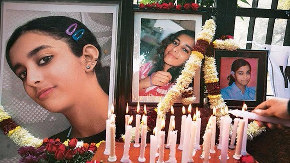 A memorial for Aarushi Talwar. Credit: PTI