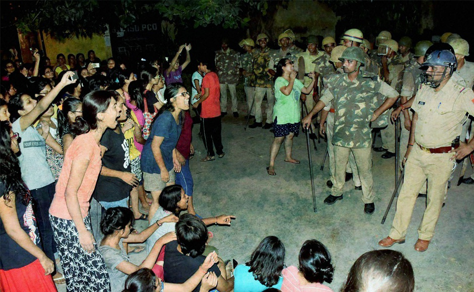Students protest at Benaras Hindu University. Credit: PTI