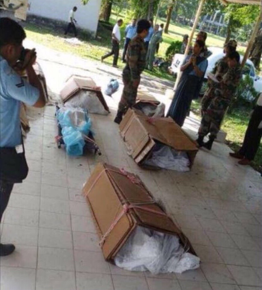 Bodies of those killed in the Tawang crash seen in cardboard boxes Photo- twitter_H.S. Panag