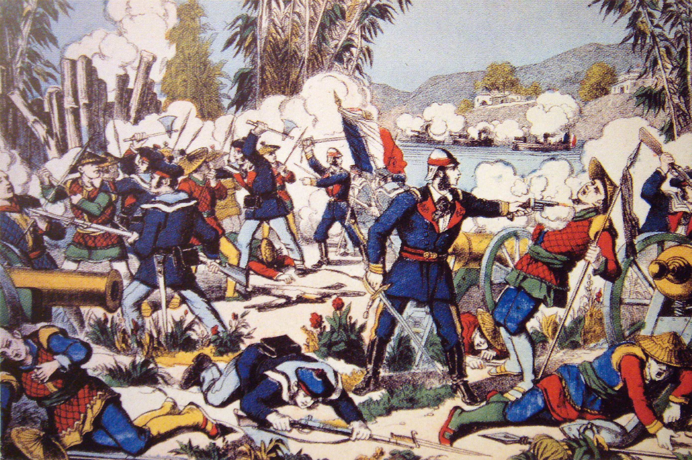 Painting depicting the French army attacking Nam Định, 1883. Credit: Wikimedia Commons