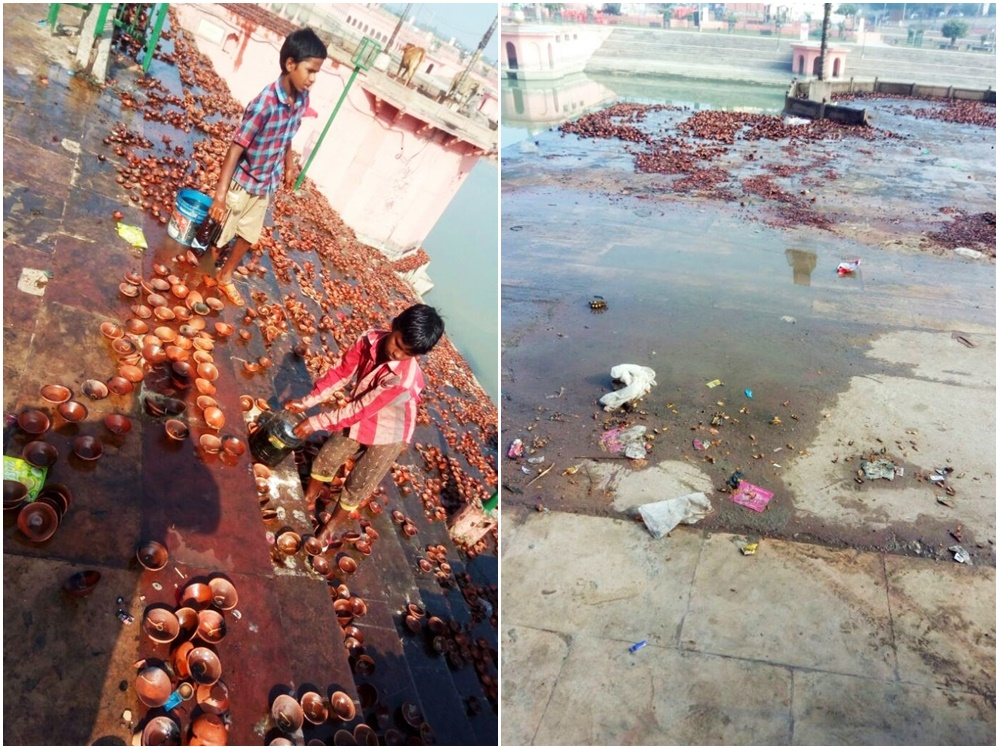 Children scrabbling to collect the oil left over from the Diwali event organised by the UP government (left), garbage strewn on the ghats following the Diwali event