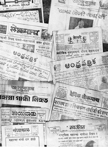Newspapers across the country announce Gandhi's assassination. Courtesy: mkgandhi.org