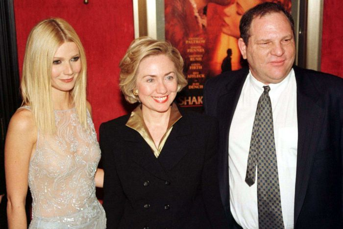 Harvey Weinstein with Gwyneth Paltrow and Hillary Clinton. Credit: Reuters/Peter Morgan