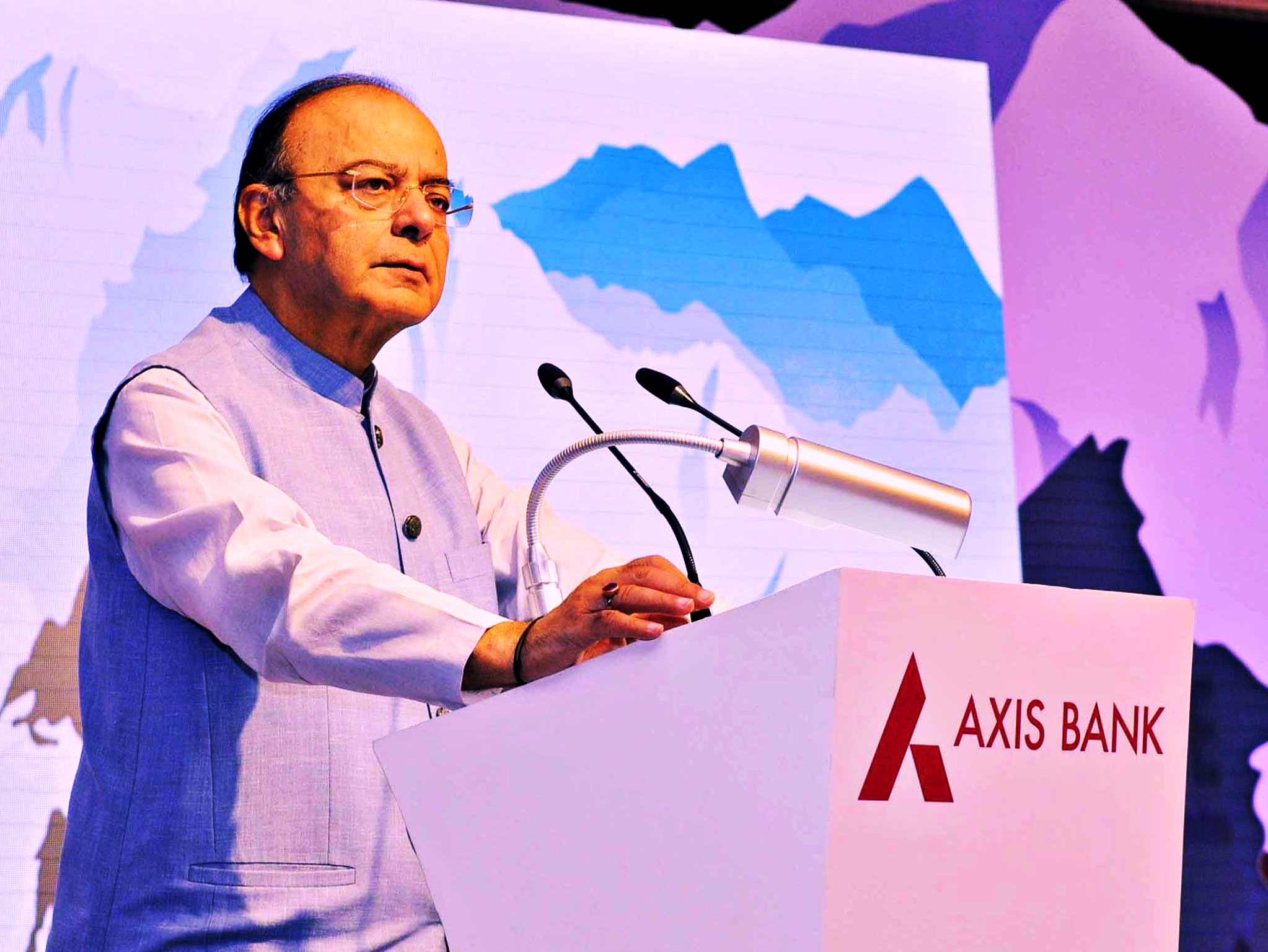 Union Minister for Finance and Corporate Affairs Arun Jaitley addressing the launch of the Axis Bank CSR project in New Delhi on September 26, 2017. Credit: PIB