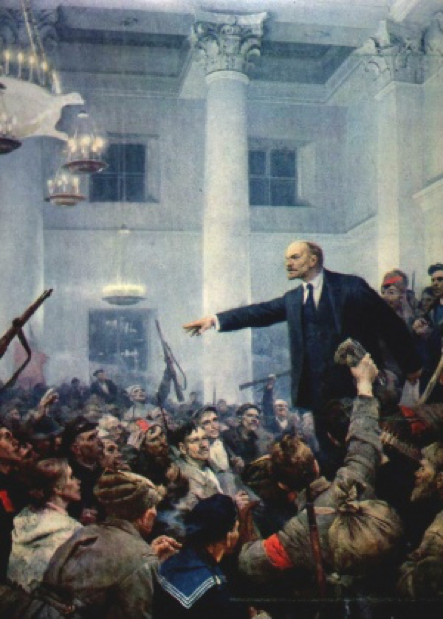 Lenin-centred revolutionary imagery.