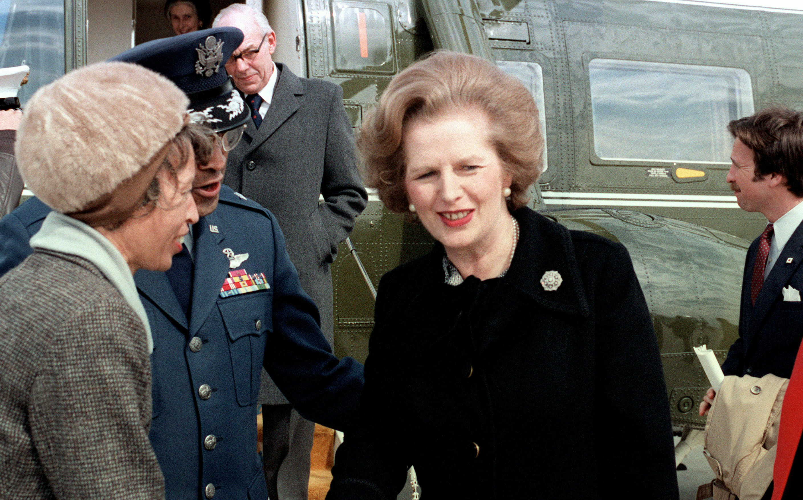 Prime Minister Margaret Thatcher of England is bid farewell on her departure after a visit to the United States. Credit: Wikimedia Commons
