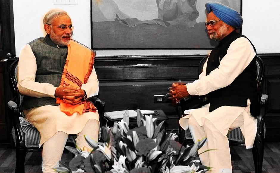 Prime Minister Narendra Modi and former Prime Minister Manmohan Singh. Credit: PTI