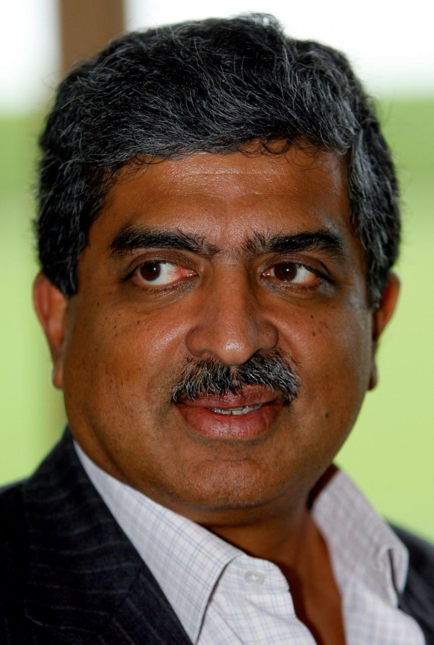 FILE PHOTO - Co-Chairman of the Board of Directors of Infosys Nandan Nilekani speaks after a news conference on the outskirts of New Delhi September 21, 2008. Credit: Reuters/B. Mathur/File Photo