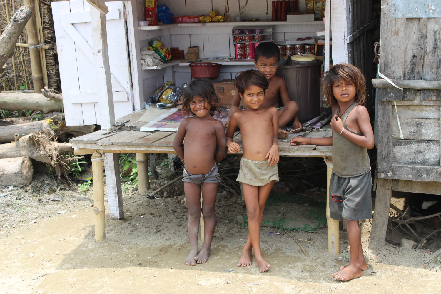 Children in Tuniahi Dakhinwari village of Madhepura. Poor nutrition leaves the children vulnerable to disease, susceptible to infections and diseases such as tuberculosis and cholera. Deprived of adequate nutrition in their formative early years, these children remain mentally and physically stunted for life.
